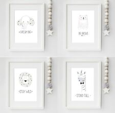 PRINT Set Of 4 A4 Cute Animal Nursery Prints, baby, kids Bedroom, playroom