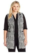 NY Collection Plus Size Sleeveless Printed Vest Notched Pointed Collar