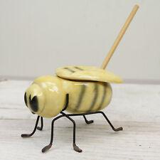 Vintage 1950's Yellow Honey Bee Honey Pot Jar with Lid and Metal Feet RETRO !