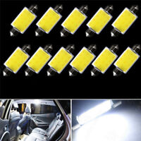 10x 42MM Festoon White COB LED Map Dome Interior Lights Bulbs 578 211-2 2W Lamps