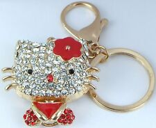 HANDBAG BUCKLE CHARMS CLEAR CRYSTAL & RED ENAMEL HELLO KITTY KEYRINGS KEY CHAIN