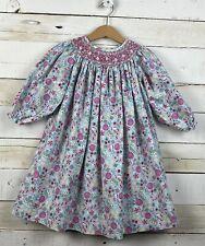 Girls The BAILEY BOYS Sz 3T Smocked Bishop Dress l/s Light Blue Candy Print