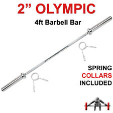 """Max Strength 2"""" Olympic Barbell Bar 4ft Weight Lifting Gym Training Bars Collars"""