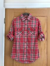 SUPERDRY Women's Pink / Red Check Fitted 3/4 Sleeve Size Extra Small - NEW