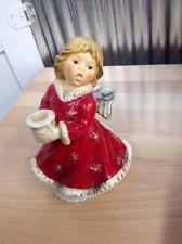 """Vintage Goebel Christmas Angel Revolving Musical Porcelain Candle Holder 6 1/2"""""""