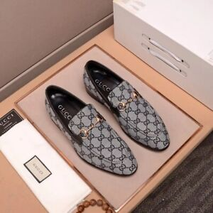 Shoes Horsebit Loafers men Black GG embroidered