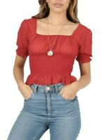 UK Womens Red Puff Sleeve Sheer Dobby Shirred Net Polka Dot Frill Crop Top