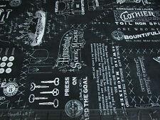 1 Yard Quilt Cotton Fabric - QT Jan Wecker Frisch She Who Sews Patterns Chalk BW