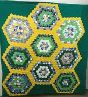 """Vintage Cotton Quilt Cover Hand Made USA 64"""" x 64"""" Green Yellow Blue and White"""