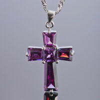 Xmas Jewelry Fashion Cross Cut Purple Amethst White Gold Gp Pendant Necklace