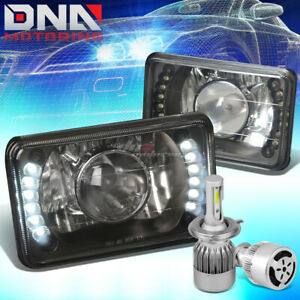 4x6 SQUARE BLACK PROJECTOR LED HEADLIGHT+WHITE LED H4 HID W/FAN FIT CADILAC/GMC
