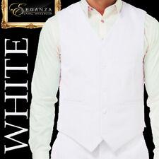 WHITE MENS VEST MICROFIBER COSTUME WEDDING SCHOOL FORMAL MENSWEAR -Aus-
