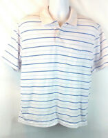 John Ashford Men's Polo Rugby Shirt Large Blue/White Striped Choice Pocket