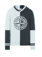 Stone Island Lambswool Knit Hooded Jumper. Size L. Color Block.