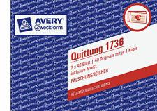 AVERY ZWECKFORM Quittung 1736 A6 quer 2-fach SD Formularbuch  inkl. MwSt.
