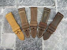 22mm Assolutamente Leather Strap Brown Deployment Watch Band for fits PANERAI