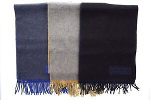 Coach 84080 Men's Cashmere Signature Logo Two Tone Fringe Lozenge Winter Scarf
