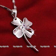 Silver Diamond Shamrock Heart Necklace Pendant Chain Gifts for Her Women Mum TU1