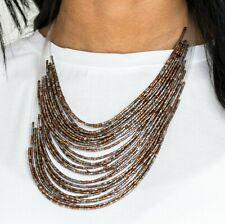 Paparazzi ~ Catwalk Queen ~ Gunmetal & Copper Seed Bead Statement Necklace Set