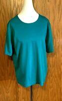 LANDS END Women's Size XL 18-20 KELLY GREEN Short Sleeve Cotton Knit Top - MINT