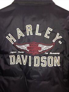 HARLEY DAVIDSON REVERSIBLE NYLON CANVAS 70% DOWN PUFFER JACKET MEN'S M-NWOT
