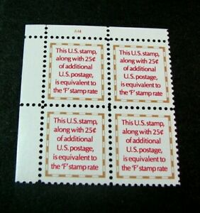 US Plate Blocks Stamp Scott# 2521  4 Cent 1991 MNH H182