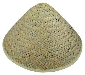 Asian Vietnamese Japanese Coolie Straw Bamboo Sun Hat Farmer Costume Accessory