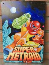 SUPER METROID - Metal Wall Tin Sign Arcade Game Poster nintendo super famicom