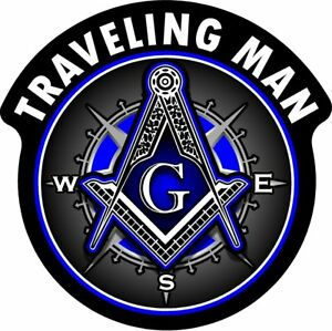"ProSticker 121V (One) Masonic ""Traveling Man"" Freemason Compass Square Decal"
