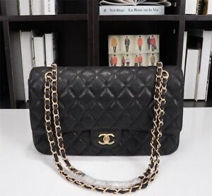 Chanel Quilted Caviar Meduim ClassicBlack  Flap Bag Gold Hardware Chain
