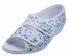 LADIES WHITE OPEN-TOE COMFORT LOW WEDGE SUMMER SANDALS ORTHO SHOES SIZE 7