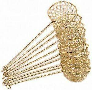 10x Fondue-Sieb Ø 6cm L 22cm goldfarben Sieblöffel für Feuertopf, Mongolentopf
