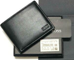 Hugo Boss Mens Asolo Leather Bifold Card & Coin Pocket Wallet Black