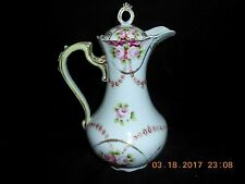 CHIKUSA Hand Painted NIPPON Coffee/Teapot Pink Roses Gold Beaded c.1891-1921