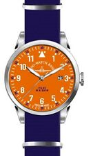 Zeno-Watch Basel Swiss Made Pilot Navigator Nato Quartz orange nylon saphirglas