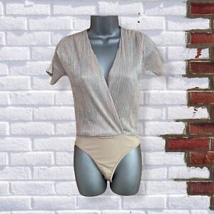 Womens Striped Glitter Short Sleeve Wrap Style Size Small BodySuit