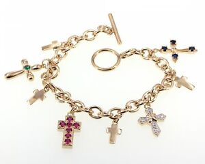 Gold Clad Sterling Lab-Created Ruby Emerald and Sapphire Cross Charm Bracelet