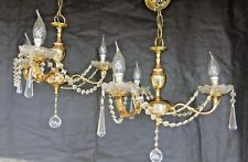 A ~STUNNING SET OF THREE MATCHING~ Brass & Crystal Chandeliers