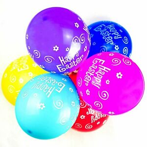 """12"""" Happy Easter Decoration Latex Assorted Colour Balloons Pack of 10"""