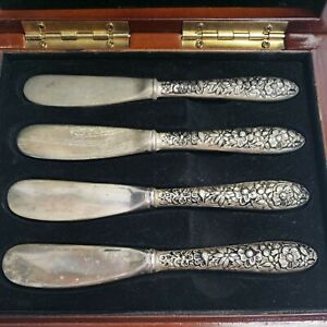 Vintage  Sterling Silver Floral Repousse 4 Butter Spreaders