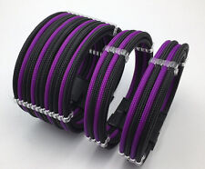 3 Curved Sleeved Extension + Cable Combs 24pin 8pin 4pin ATX CPU, 8pin 6pin PCIE