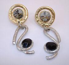 Black Smoke Earrings Swarovski Crystal Gold Silver Clip On Gemstone New Gift