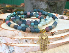Mala Kette 108 Perlen Hamsa Gold Türkis Achat Jade Gebetskette Buddha