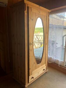 Kiefer Kleiderschrank mit Spiegel in Tür, 1-flügelig