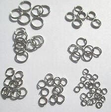 70 Ringe, 8 mm AD, offen, silberfarben. Verbindungsringe,Ösen, Biegeringe,