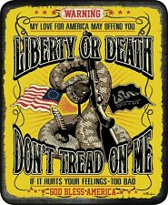 Queen Don't Tread On Me Liberty Or Death Mink Faux Fur Blanket Warm Soft Full