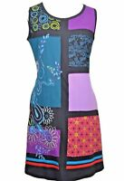 100% Cotton Nepal Boho Hand Embroidery Patch Applique Blue Summer Tunic Dress