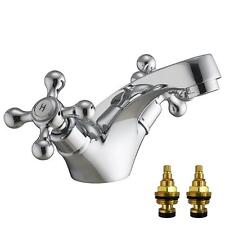 Victorian Antique Old Style Chrome Bathroom Basin Sink Mixer Taps (Viscount 1)