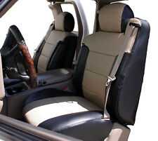 CHEVY SILVERADO 2000-2002 BLACK/BEIGE VINYL CUSTOM MADE FRONT SEAT & 2ARM COVER