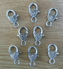 LARGE ORNATE HEART LOBSTER CLASPS PACK OF 8 ANTIQUE SILVER 26mm x 13mm